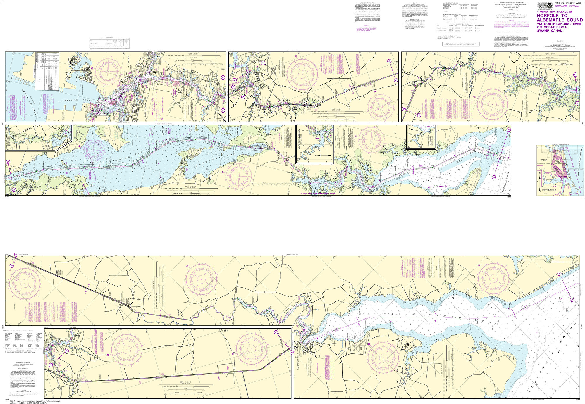 NOAA Nautical Chart - 12206 Intracoastal Waterway Norfolk to Albemarle  Sound via North Landing River or Dismal Swamp Canal