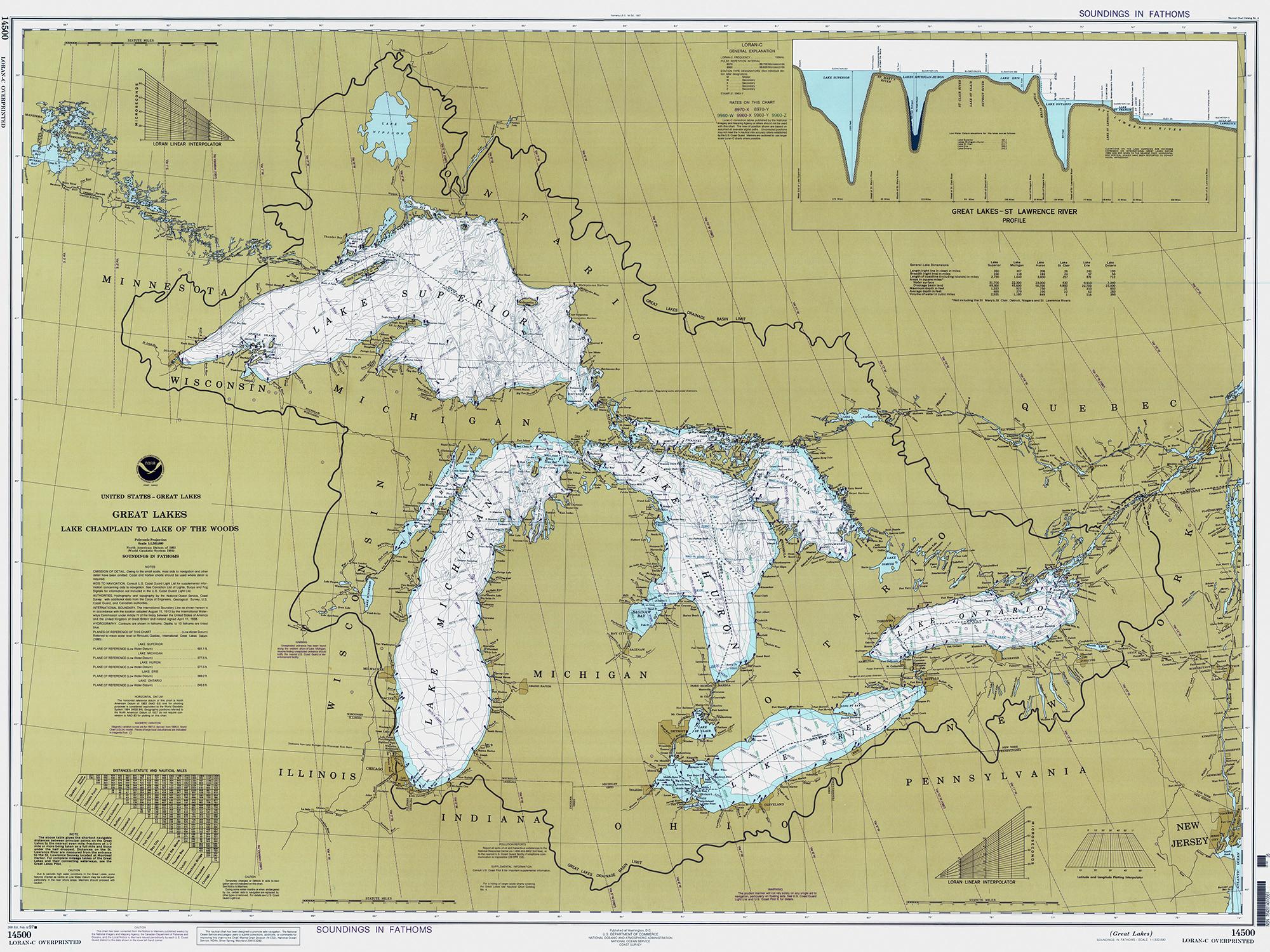 Historical Nautical Chart - 14500-02-1997 Great Lakes, Lake Champlain To  Lake Of The Woods