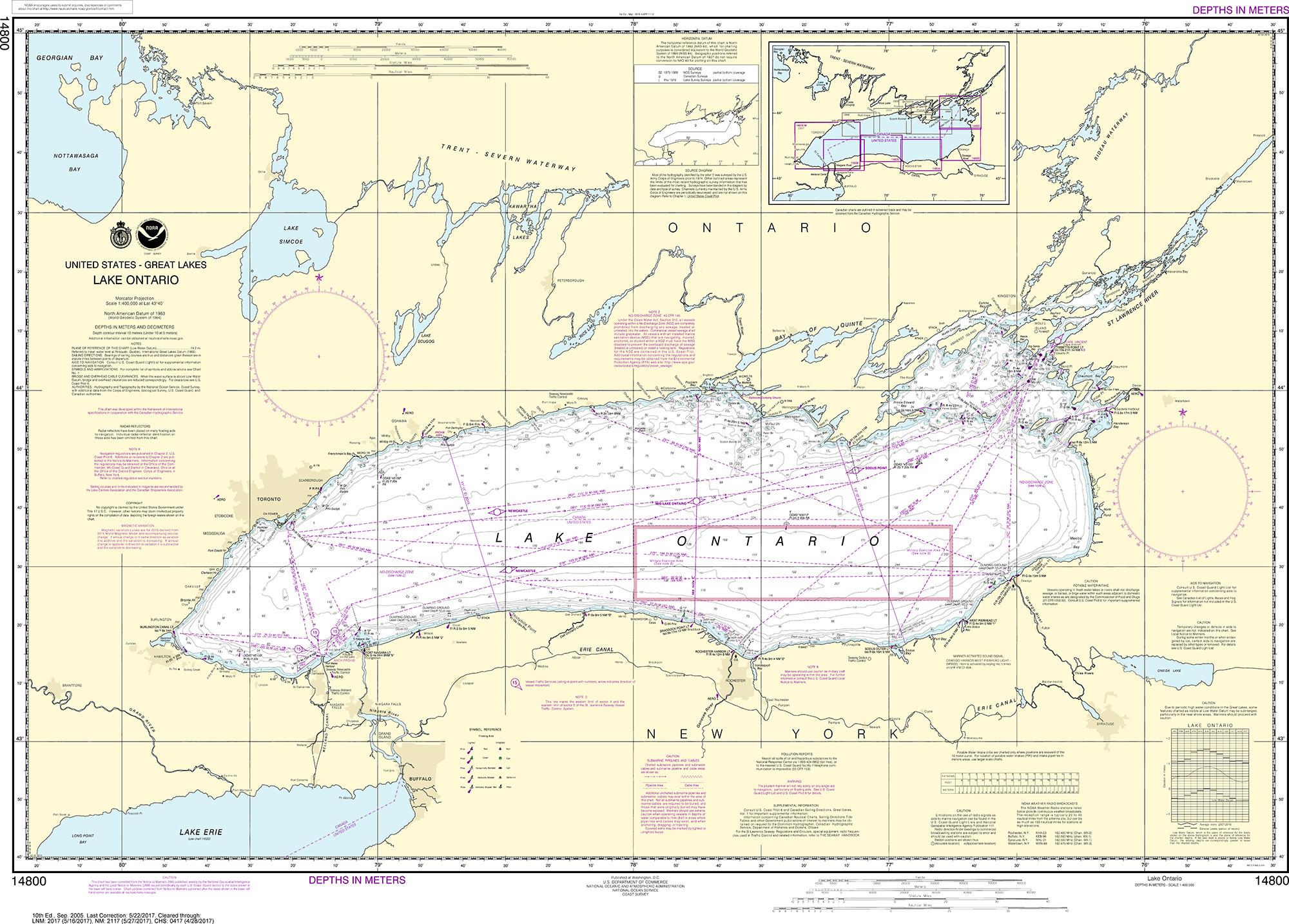 Picture of: Noaa Nautical Chart 14800 Lake Ontario