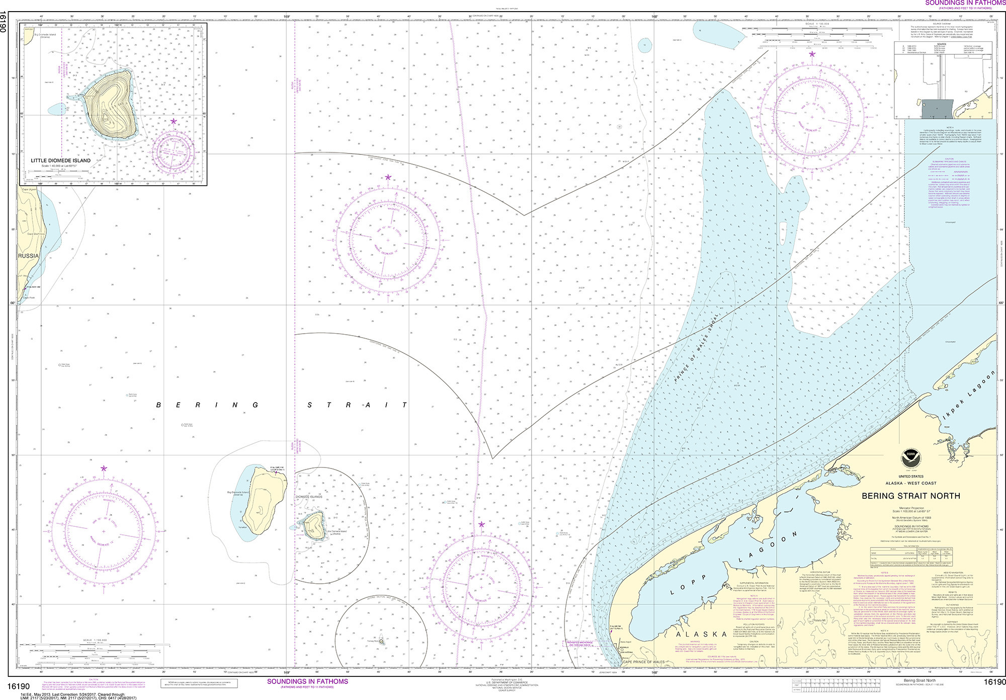 Image of: Noaa Nautical Chart 16190 Bering Strait North Little Diomede Island