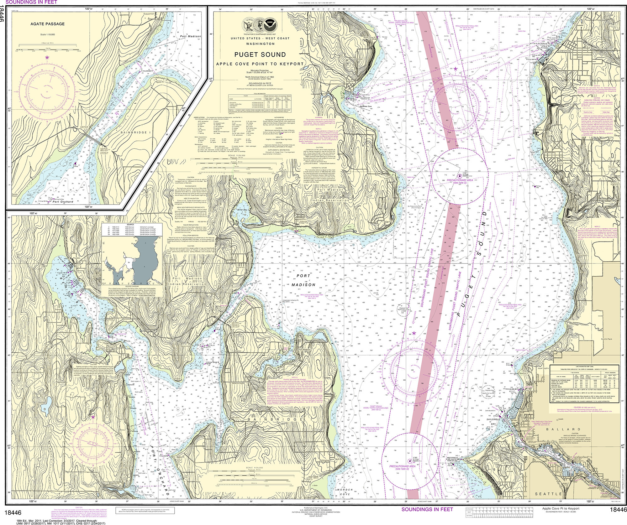 Noaa Nautical Chart 18446 Puget Sound Apple Cove Point To Keyport Agate Passage