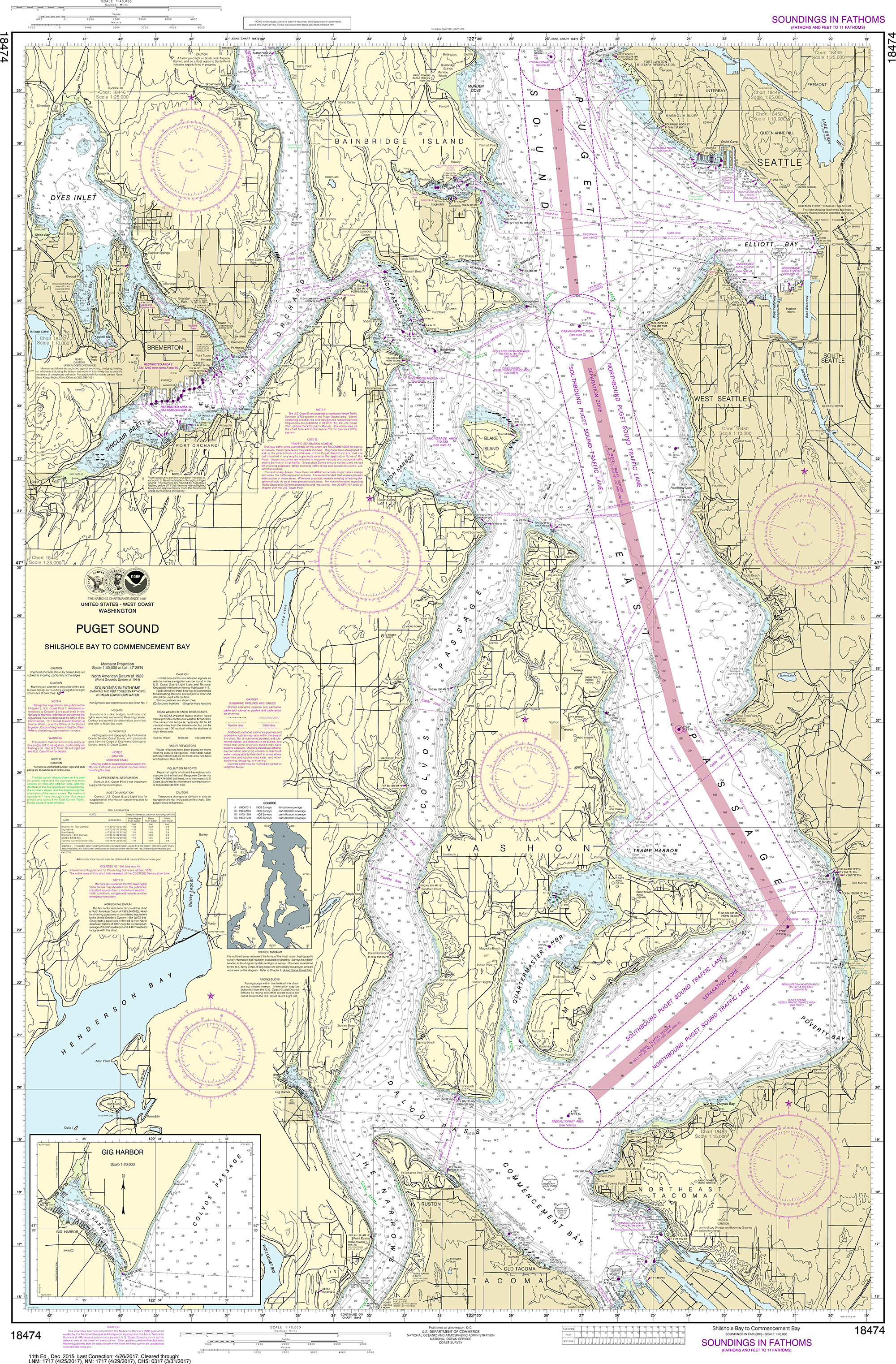 Noaa Nautical Chart 18474 Puget Sound Shilshole Bay To Commencement Bay Nautical Charts Navigation