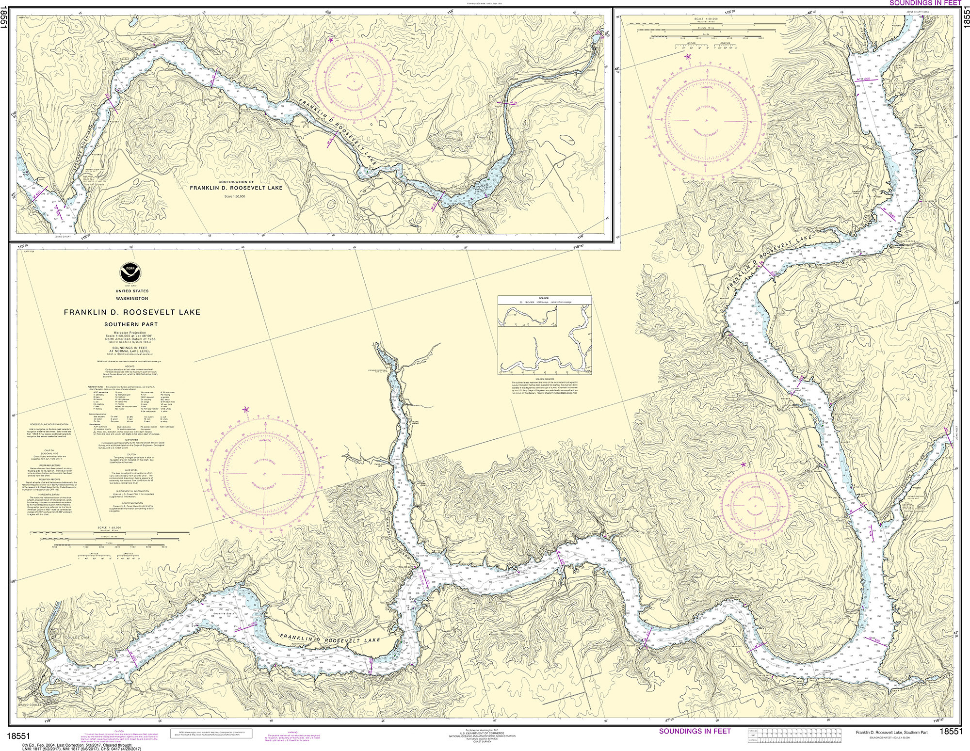 Synthetic Media NOAA Chart 18551 FRANKLIN D ROOSEVELT LAKE Southern part