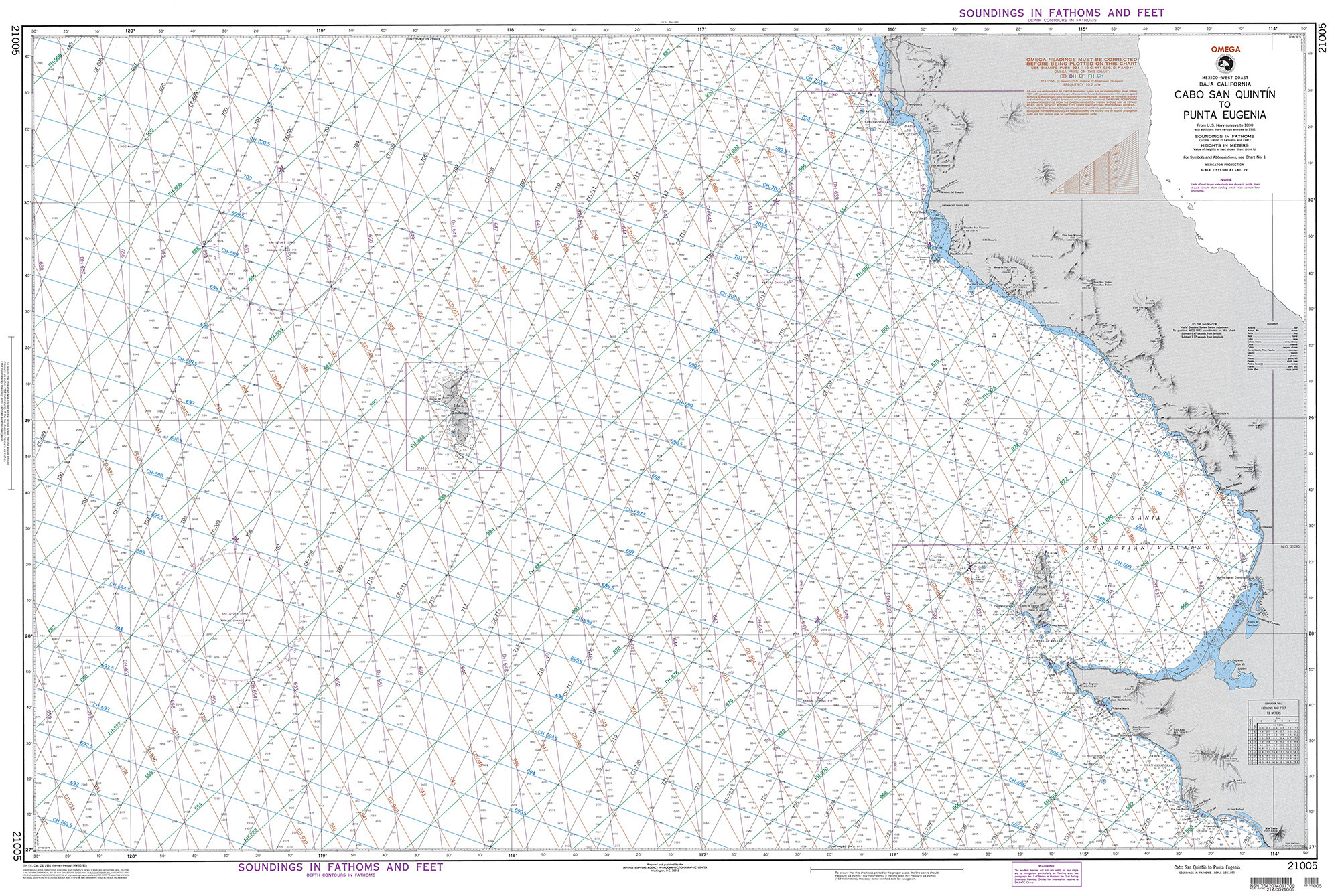 NGA Nautical Chart - 21005 Cabo San Quintin to Punta Eugenia (Mexico-West  Coast) (OMEGA)