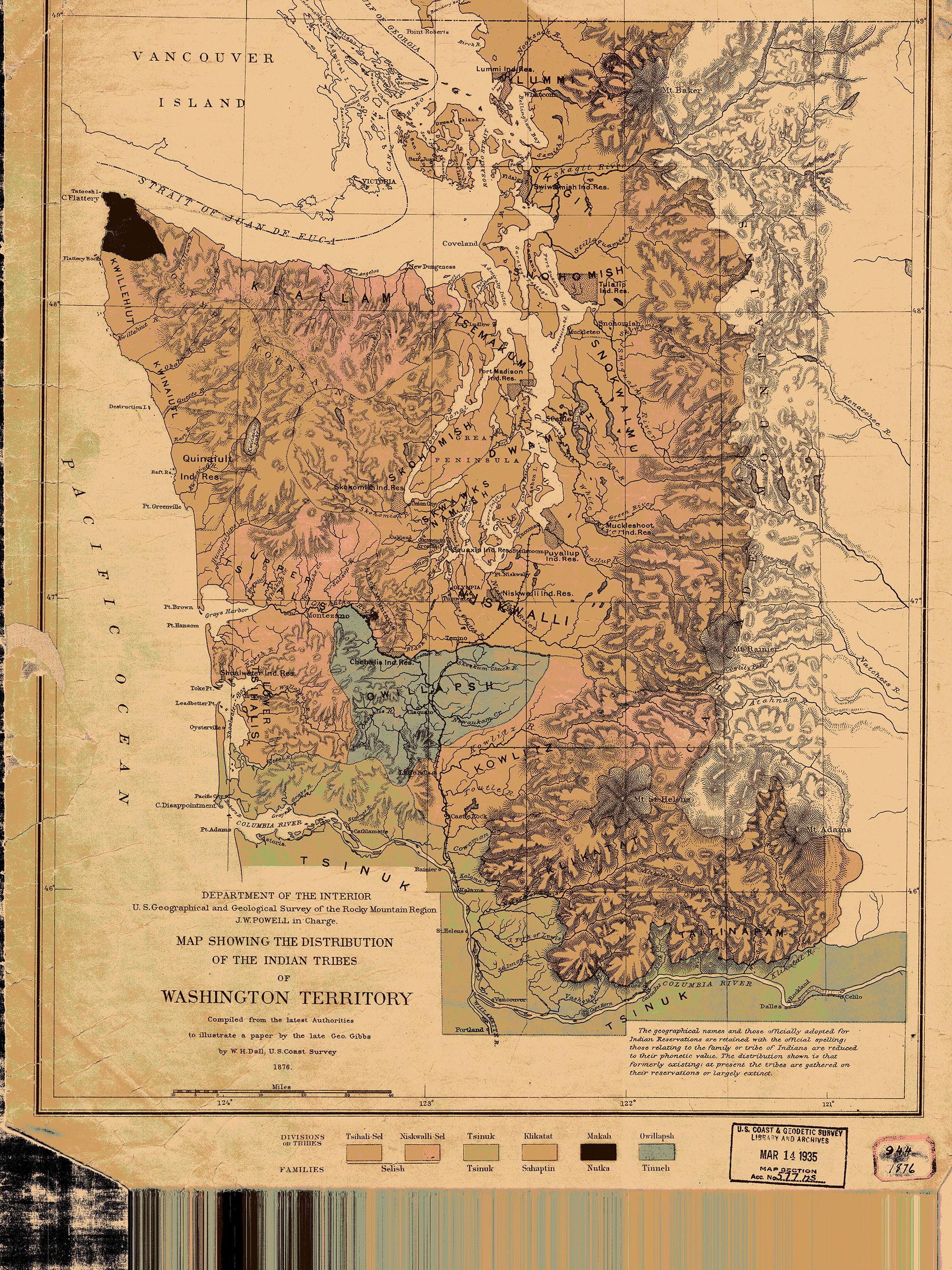Historical Nautical Chart Tribe Indian Tribues Of Washington Territory